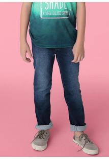 Calça Jeans Skinny Infantil Menino Com Lavação Escura Hering Kids