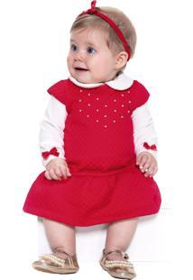 Vestido Infantil Paraiso Matelassê E Body Em Plush Vermelho