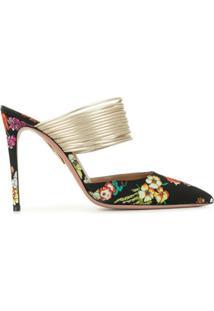 Aquazzura Sapato Rendez Vouz Com Estampa Floral - Preto