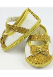 Sapato Bebê Feminino Amarelo Com Dourado-P - Feminino