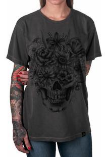 36bb564d9 Camiseta Caveira Com Flores Artseries Feminina - Feminino-Grafite