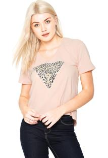 Camiseta Guess Animal Print Glitter Rose - Kanui