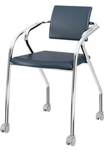 Cadeira 1713 Cromado Com Napa Azul - 27689 - Sun House