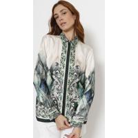 8872d655cd Camisa Em Seda Arabescos - Off White   Verde Escuroversace Collection