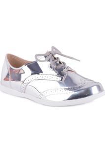Sapato Oxford Metalizado - Molekinha - Feminino-Prata