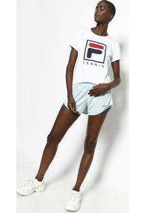 "Camiseta ""Tennis"" - Branca & Azul Marinhofila"