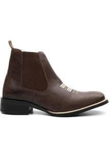 Bota Texana Valente Boots Cano Curto Elastico Masculina - Masculino-Cafe