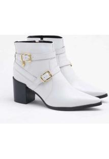 Ankle Boot Verofatto Ariane Fivela Couro Branco