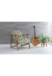 Poltrona Decorativa Para Sala Lis Verniz Amendoa Tec.S1865 Folhas Verdes 72X81X81 Cm