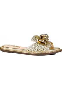 Rasteira Zariff Shoes Metalizada Laço Dourado