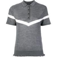 Cashmere In Love Camisa Polo Com Acabamento De Babados - Cinza b890696f3710d