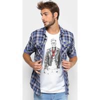 18a2f80dc Camisa Colcci Manga Longa Xadrez Bolso Masculina - Masculino-Azul