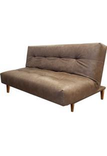 Sofa Cama Flip Com 3 Lugares Assento Courissimo Marrom Base Madeira - 56033 Sun House