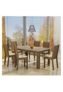 Conjunto Sala De Jantar Madesa Analu Mesa Tampo De Madeira Com 6 Cadeiras Rustic/Lírio Bege