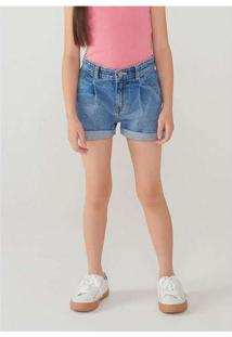 Shorts Jeans Infantil Menina Com Barra Dobrada Azu
