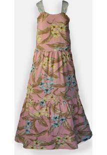 Vestido Longo Bellerose Estampado Rosa