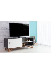 Rack Tv Preto Moderno Vintage Retrô Com Porta De Correr Branca Freddie - 120X43,6X48,5 Cm