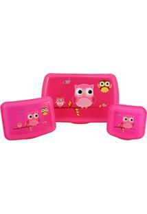 Conjunto Garrafa E Pote Infantil De 4 Peças Jacki Design Pink