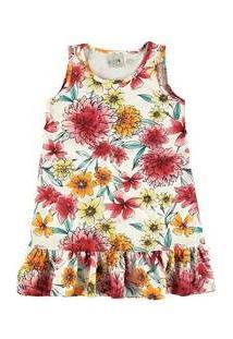 Vestido Infantil Flores Malwee