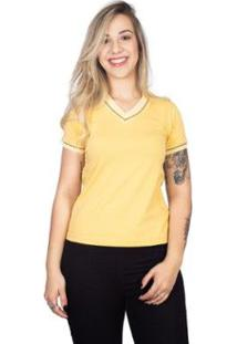 Camiseta 4 Ás Sanfonada Feminina - Feminino-Amarelo