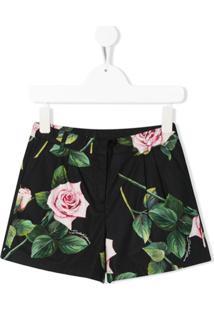 Dolce & Gabbana Kids Short Com Estampa De Rosas - Preto