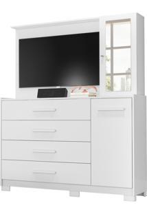 Comoda/Painel De Tv Ilhabela 4 Gavetas Branco Fosco Liso Albatroz - Tricae