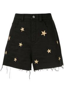 Saint Laurent Short Jeans Com Bordado De Estrela - Preto