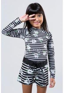Camiseta Infantil Lycra Listra Floral Reserva Mini Feminina - Feminino-Preto