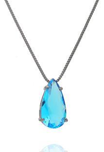 Colar Dona Diva Semi Joias Gota Pedra Azul
