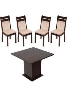 Sala De Jantar Madesa Mesa Tampo De Madeira Com 4 Cadeiras Marrom