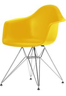 Cadeira Eames Com Braco Base Cromada Amarelo Fosco - 24498 Sun House