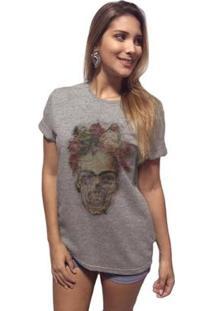 Camiseta Joss Premium Fridda Caveira Feminina - Feminino-Cinza