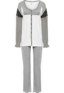 Pijama Feminino Longo Frente Malha Luna - Cinza E Branco