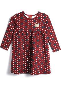 Vestido Kyly Infantil Poás Vermelho/Azul-Marinho