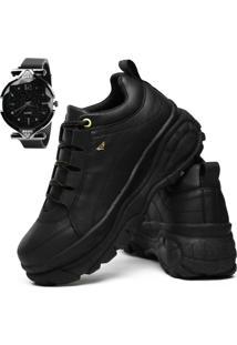 Tãªnis Sneaker Rebento Plataforma Conforto Feminino Preto Com Relã³Gio Magnã©Tico - Branco - Feminino - Dafiti