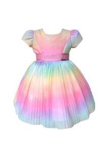 Vestido Infantil Tie Dye Miss Sweet Festa Rosa