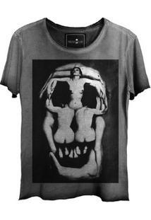 Camiseta Estonada Skull Corps Corte A Fio