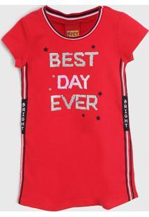 Vestido Kyly Infantil Lettering Vermelho