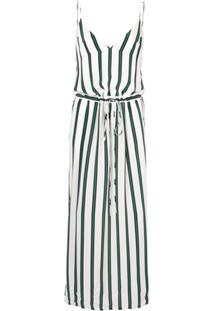 Manning Cartell Vestido Longo Elemental Listrado - Branco