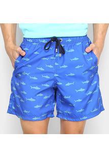 Bermuda Aleatory Pineapple Listras Masculina - Masculino-Azul Royal