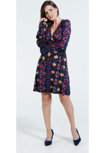 Vestido Feminino Estampa Floral Manga Longa Marisa