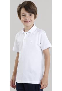 Polo Infantil Em Piquet Básica Manga Curta Com Botões Branca