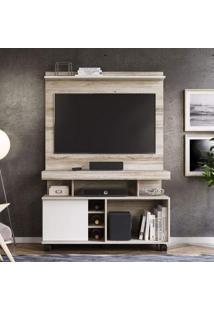 Rack Bancada Com Painel Home Para Tv Até 42 Polegadas 1 Porta Delta Colibri Castanha Rústico/Branco Neve