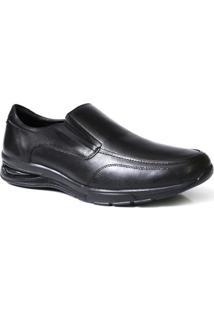 Sapato Social Masculino Confort Solado Gel Com Elastico - Couro - Masculino-Preto+Amarelo