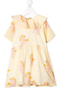 Mini Rodini Vestido Com Estampa De Unicórnio - Amarelo