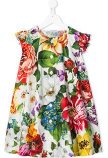 Dolce & Gabbana Kids Vestido De Festa Com Estampa Floral - Branco