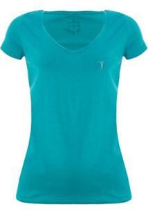 Camiseta Aleatory Feminina Gola V Básica - Feminino-Azul