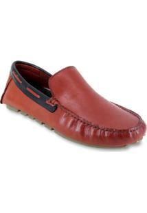 Sapato Mocassim Drive Masculino Enviamix Em Couro - Masculino-Vermelho