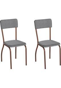 Conjunto Com 2 Cadeiras Nowra Cinza E Cobre