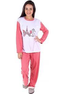 Pijama Linha Noite De Malha Feminino Longo - Feminino-Salmão